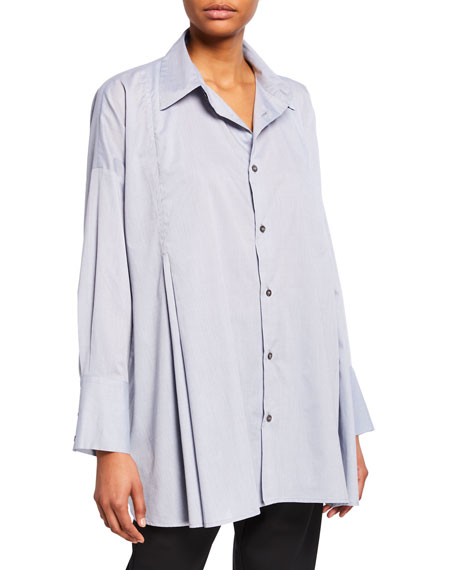 Cotton Button-Front Swing Shirt