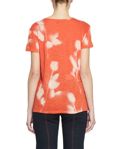 Short-Sleeve Rose-Print Tissue Tee
