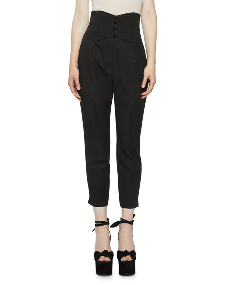 High-Rise Button-Banded Crop Trousers