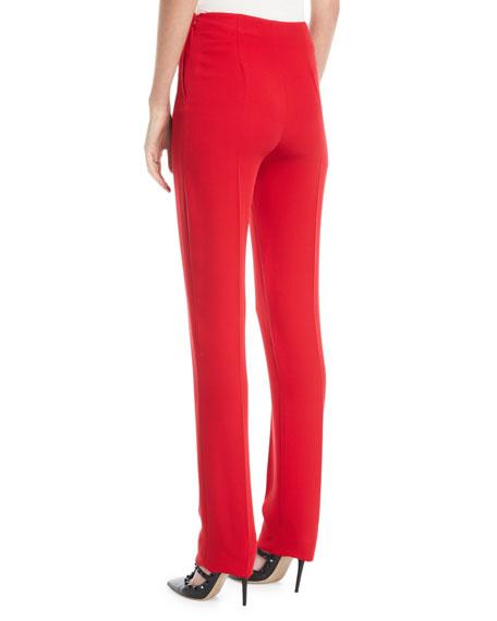 Side-Zip Silk Cady Skinny Pants