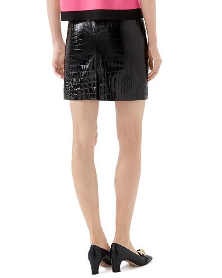 Crocodile-Embossed Leather Mini Skirt