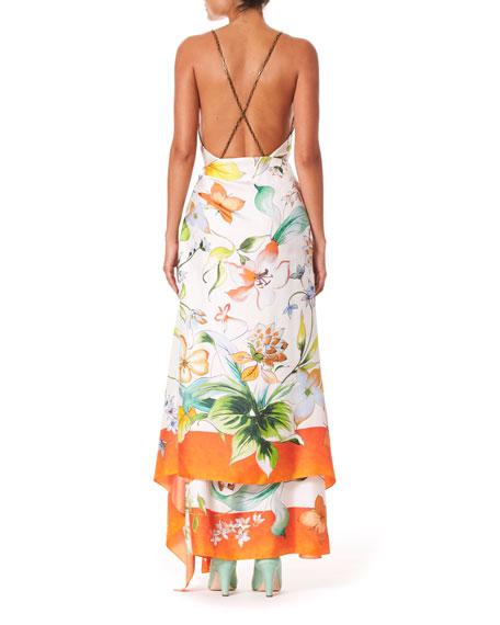 Sleeveless Floral Print Wrap Scarf Dress