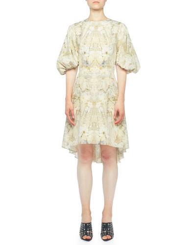 Ophelia Print Waterfall-Back Poet Dress