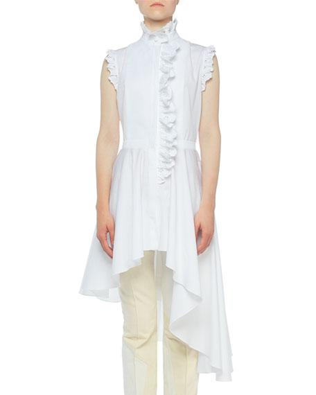 Alexander McQueen High-Neck Lace-Trim Button-Front Asymmetric Blouse