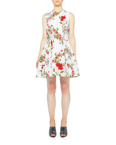 Red Poppy-Print Laced-Front Cocktail Dress