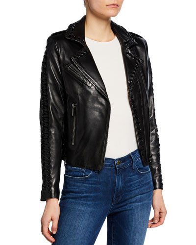 Vinyl Lace-Up Leather Moto Jacket