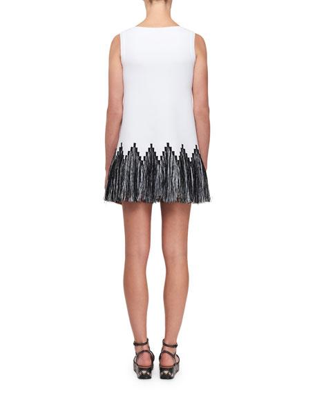 Raffia-Fringe Tunic Dress