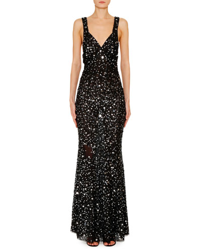 Star-Sequined V-Neck Evening Gown