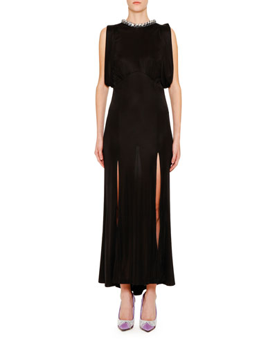 Chain-Neck Jersey Slip Dress