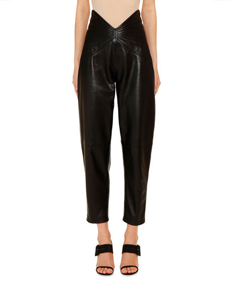 Leather Butterfly-Band Crop Pants