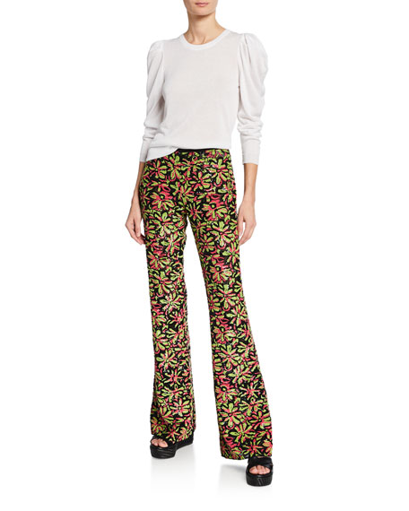 Watermelon-Lime Daisy Embellished Flare Pants