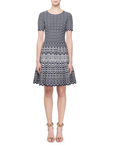 Short-Sleeve Scalloped-Intarsia Flared Dress