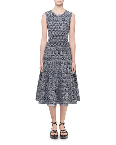 Labyrinth Intarsia Sleeveless Midi Dress  Navy