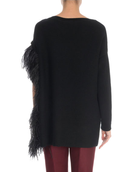 Draped-Feather Cashmere Sweater