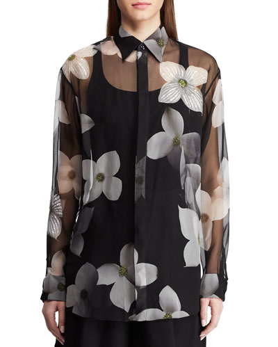Caley Embellished Floral Sequin Shirt