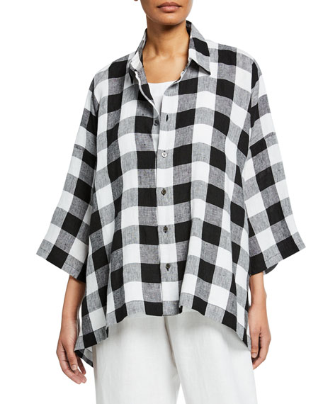 3/4-Sleeve Gingham Linen Button-Front Shirt