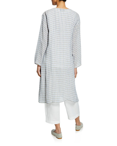 Two-Tone Gingham Linen Gauze Coat