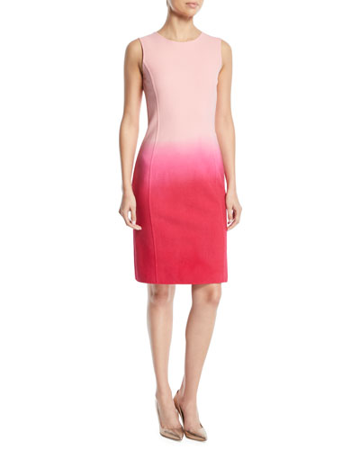 Sleeveless Jewel-Neck Dip-Dye Ombre Sheath Dress