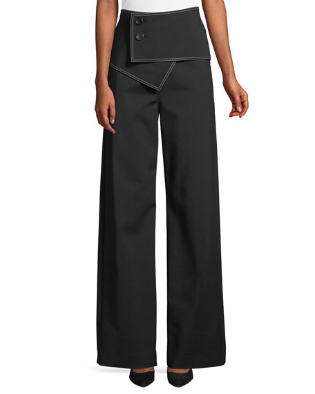 High-Waist Flared-Leg Trousers w/ Fold-Over Waist