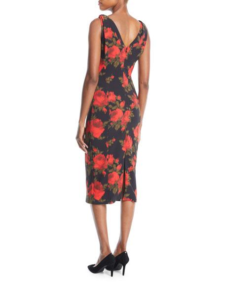 Sleeveless Floral-Print Midi Sheath Dress