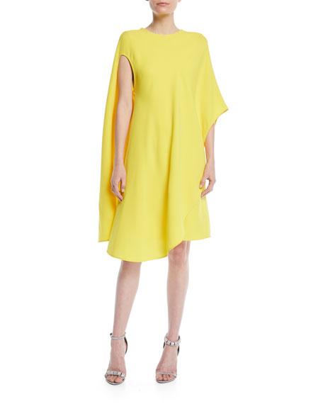 Silk-Wool Asymmetric Flowy Dress