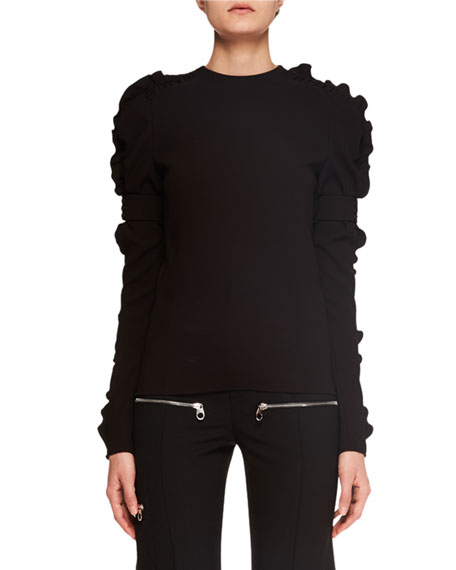 Image 1 of 1: Ruffled Long-Sleeve Crepe Top