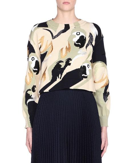 Bird Print Long-Sleeve Crewneck Sweater