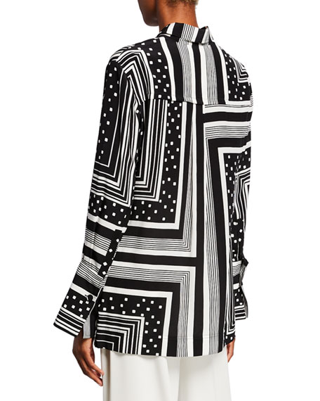 Geometric Button-Front Shirt
