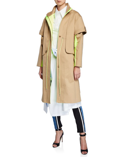 Drawstring-Waist Contrast-Face Trench Coat