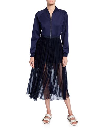 Track-Top Fringe-Skirt Dress