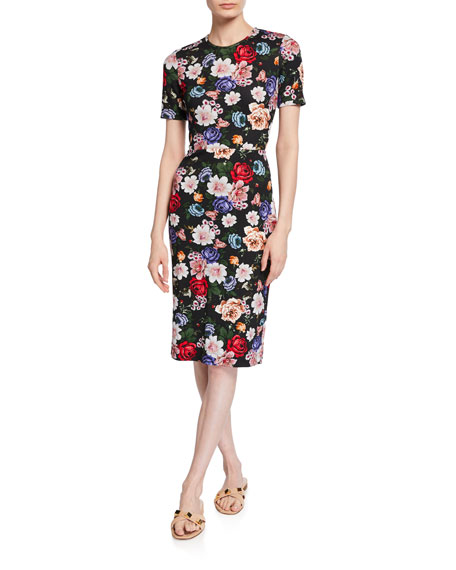 Essie Short-Sleeve Floral Sheath Dress