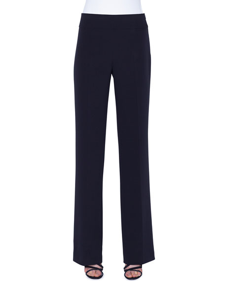 Image 1 of 1: Carla Silk-Crepe Straight-Leg Pants