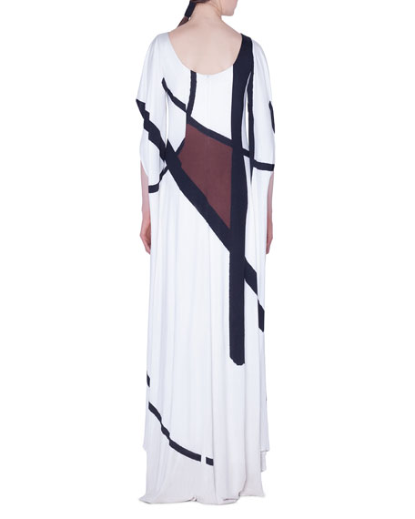 Dancing Twig Print Cape-Sleeve Gown