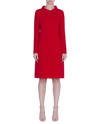 Wool Crepe Long Jacket