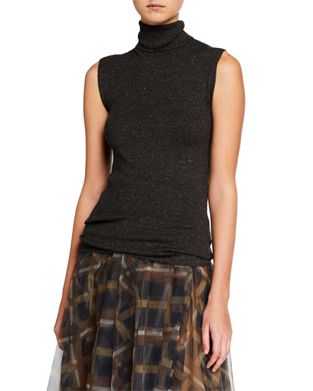 Metallic Cashmere-Blend Turtleneck Sleeveless Sweater