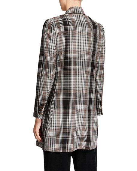 Plaid Tropical-Wool Overcoat
