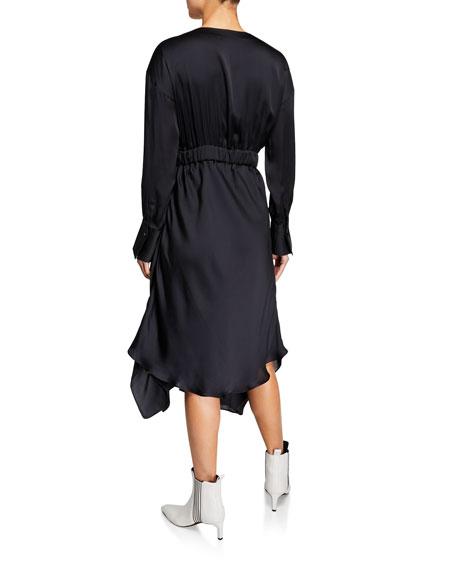 Long-Sleeve Silk Handkerchief Dress
