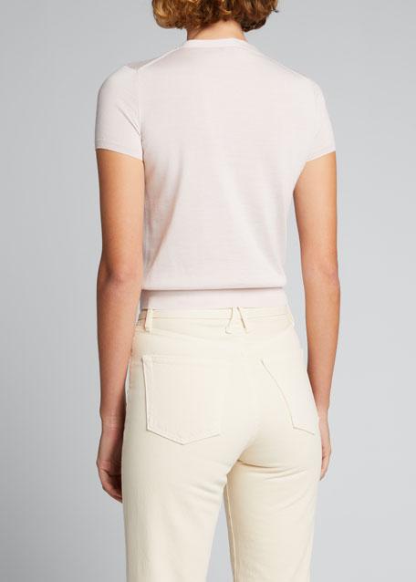 Cashmere-Silk Crewneck Short-Sleeve Sweater