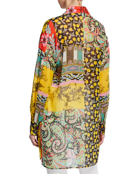 Paisley Collage Chiffon Button-Front Tunic