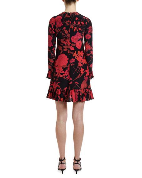 Long-Sleeve Crinkle Pleated-Cuff Dress