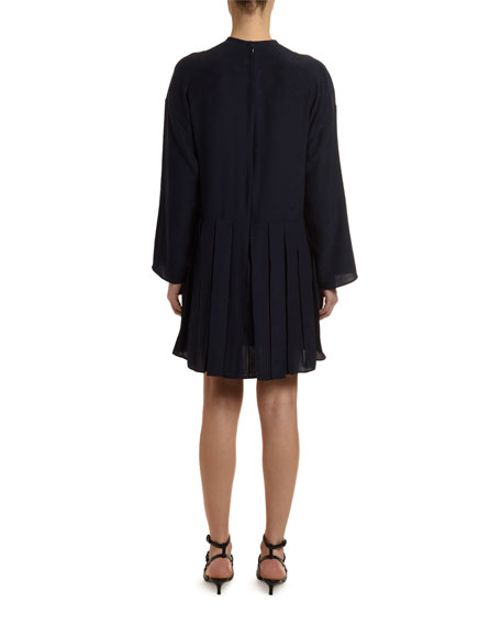 Go Logo Satin Long-Sleeve Tie-Neck Dress
