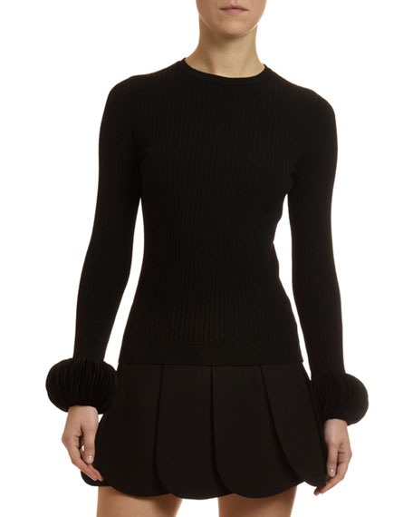 Disc-Cuff Ribbed Crewneck Sweater