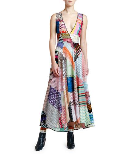 Sleeveless V-Neck Patchwork Dress