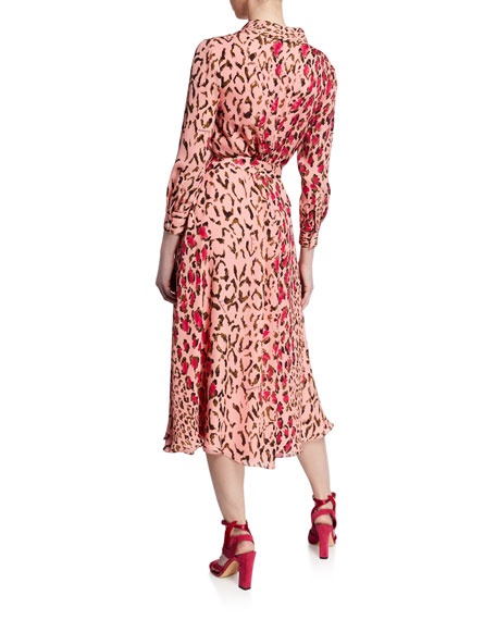 Leopard-Print Long-Sleeve Midi Shirtdress