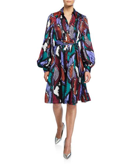 Puff-Sleeve Feather-Print Dress