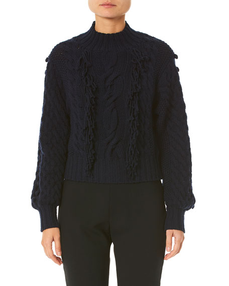 Image 1 of 1: Hand-Fringed Cable-Knit Sweater