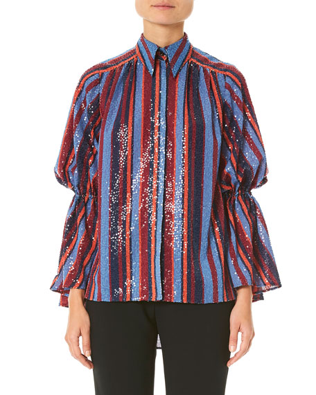 Image 1 of 1: Sequined Puff-Sleeve Button Front Shirt