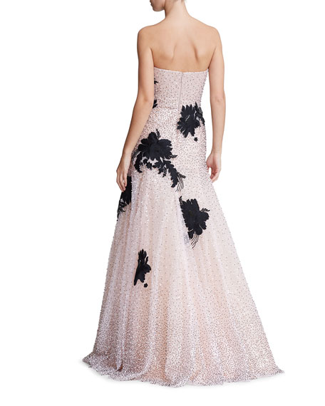 Floral Embroidered Tulle Strapless Gown