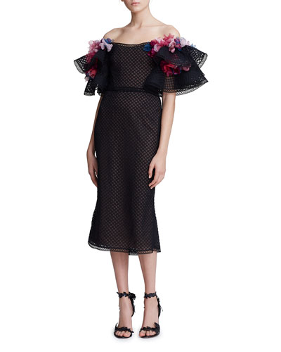Off-the-Shoulder Grid Embroidered Dress