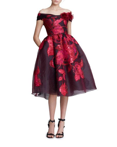 Off-the-Shoulder Jacquard Cocktail Dress